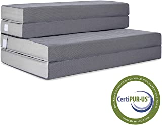 Best Choice Products 4in Thick Folding Portable Full Mattress Topper w/ Bonus Carry Case, High-Density Foam, Washable Cover - Gray