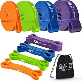 ShapEx Pull Up Bands-Heavy Duty Set of 4 Pull Up Workout Bands, Perfect Resistance Bands for Body Stretch, Physical Therap...