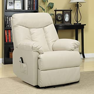 Metro Shop ProLounger Lya Cream Renu Leather Power Recline and Lift Wall Hugger Chair