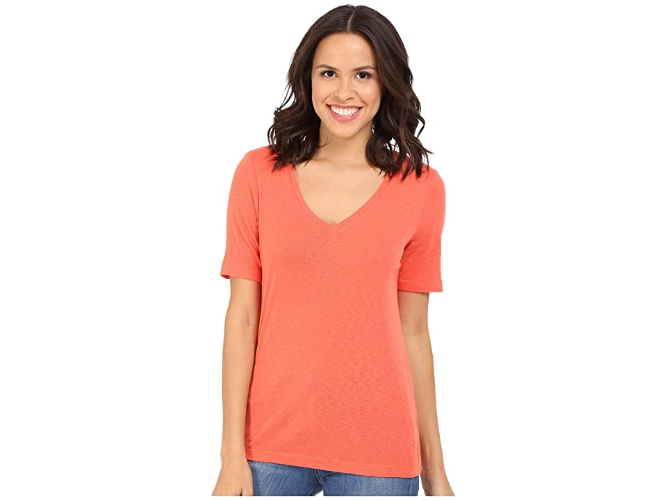 Three Dots Ray 9 Sleeve Mid-V (Emberglow) Women