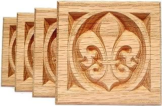 Set of 4: Carved Fleur de Lis Rosette Blocks, Made in USA (3.5