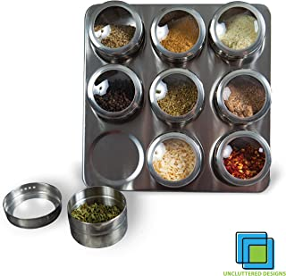 Intergalactic Spice Rack Set With Magnetic Jars, Stand and Wall Mount by Uncluttered Designs (9 Tin)