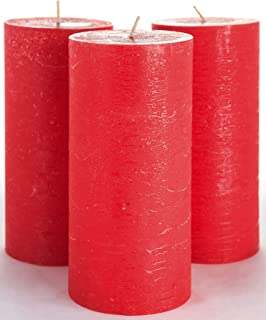 Melt Candle Company Set of 3 Red Pillar Candles 3