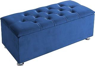 H-Cube Meble otomana przechowywanie Chesterfield plusz aksamit duże niebieskie dopasowane guziki