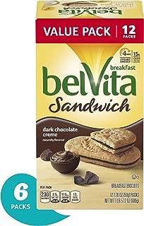 Belvita Sandwich Dark Chocolate Creme Breakfast Biscuits, 6 Value Pack (72 Total Breakfast Biscuit Sandwiches)