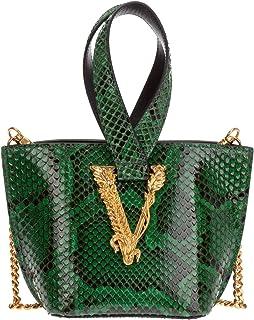 Versace mujer Virtus python bolsas de mano verde