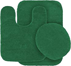 3pc Bath Rug Set for Bathroom Non Slip Bath Mat, Contour Mat & Toilet Lid Cover Solid Hunter Green New