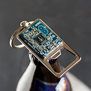 Blue Bottle Opener Keychain, recycled circuit board