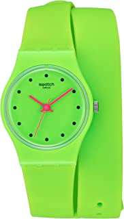 Swatch Women's 'Camovert' Quartz Plastic and Silicone Watch, Color:Green (Model: LG128)