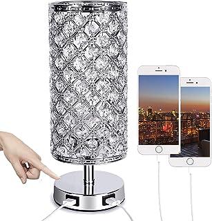 ALLOMN Lampe Table Chevet Cristal Lampe Table à Commande Tactile à Intensité Variable Lampe Cristal Moderne Double port Ch...
