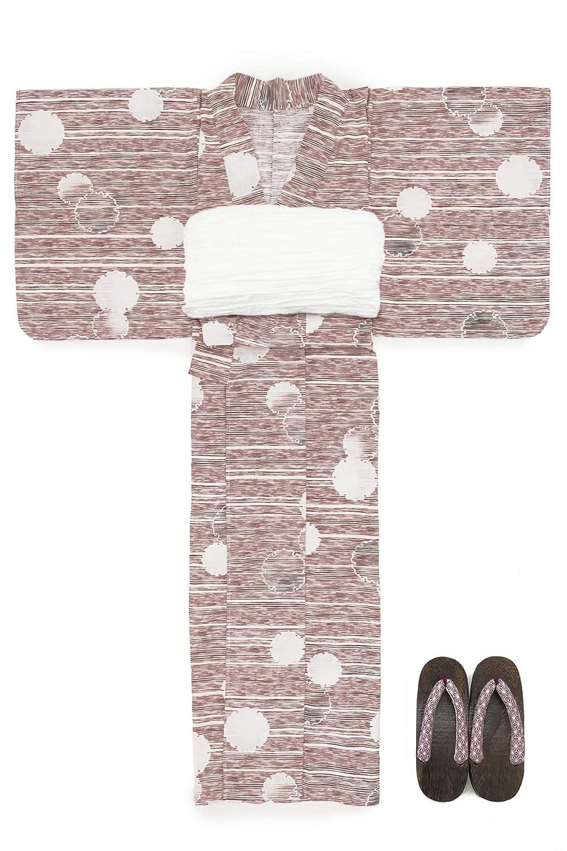 (ソウビエン) 浴衣 セット レディース 赤 レッド 白 雪輪 横縞 綿 兵児帯 マクレ ボヌールセゾン