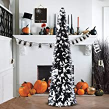 YUQI 5' Black and Orange Tinsel Pop-Up Artificial Christmas Tree,Collapsible Pencil Christmas Trees Features Sequins Accen...