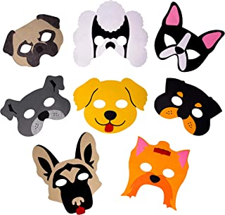 Dog Masks for Kids Party - 8 Felt Masks, Great for Animal Themed Birthday Parties, Novelty Dress-up and Halloween