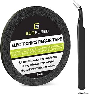 Eco-Fused Cinta Adhesiva para la reparación de teléfonos celulares - 2mm Cinta – Tambien Incluye 1 par de Pinzas Paño de Limpieza de Microfibra (Negro)