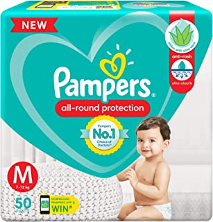 Pampers All round Protection Pants, Medium size baby diapers (MD), 50 Count, Anti Rash diapers, Lotion with Aloe Vera