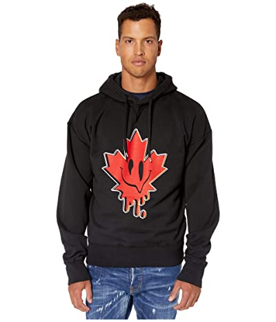 DSQUARED2 Acid Maple Leaf Hoodie Sweatshirt (Black) Men