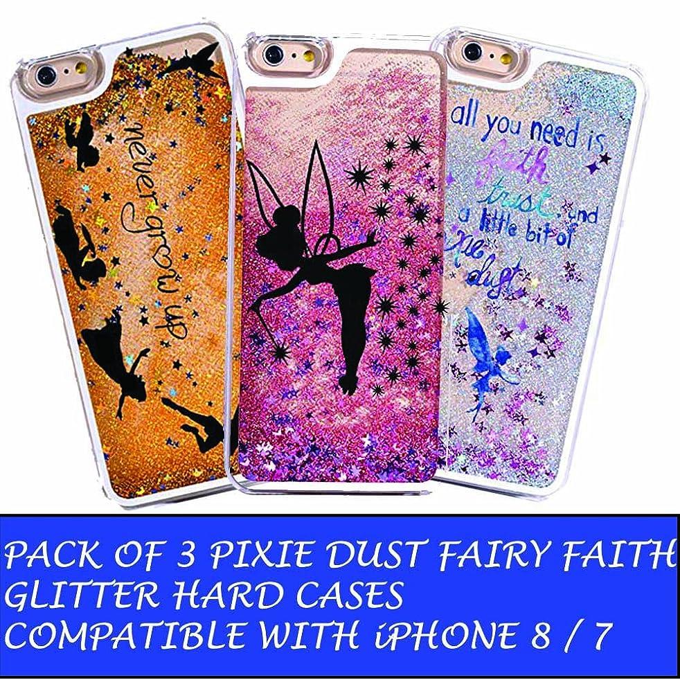 Pack Of Three - iPhone 8 / 7 Compatible, Glitter Pixie Dust Faith Fairy Tale Angel Series Dynamic Hard Case Bumper for Apple Clear Cover - Blue Fairy Faith + Black Fairy Faith + Never Grow Up