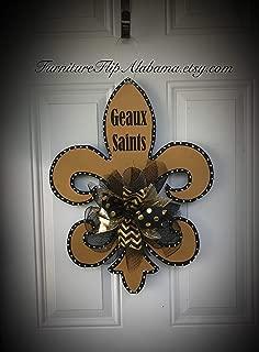 New Orleans Saints football door hanger wreath fleur de lis