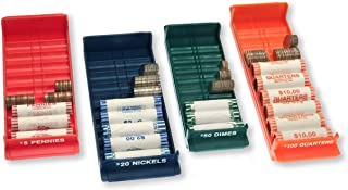 Sponsored Ad - Nadex Rolled Coin Storage Organizer Tray Set with Ridges for Loose Coins | Quarters, Dimes, Nickles, and Pe...
