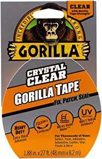 Gorilla Crystal Clear Tape, Duct, Utility, Non-Yellowing, Heavy Duty, Extra Thick Adhesive, Flexible, UV Temperature Resis...