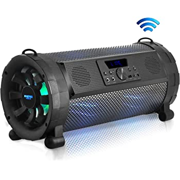 Pyle PBMSPG198 Bluetooth BoomBox Speaker System with Built-in LED Lights