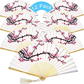 12 Pieces Hand Held Fans Silk Bamboo Folding Fans Flower Printed Fans Handheld Folded Dance Fans for Wedding Gift Party Favors (White Cherry)