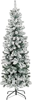 snow covered pencil christmas tree