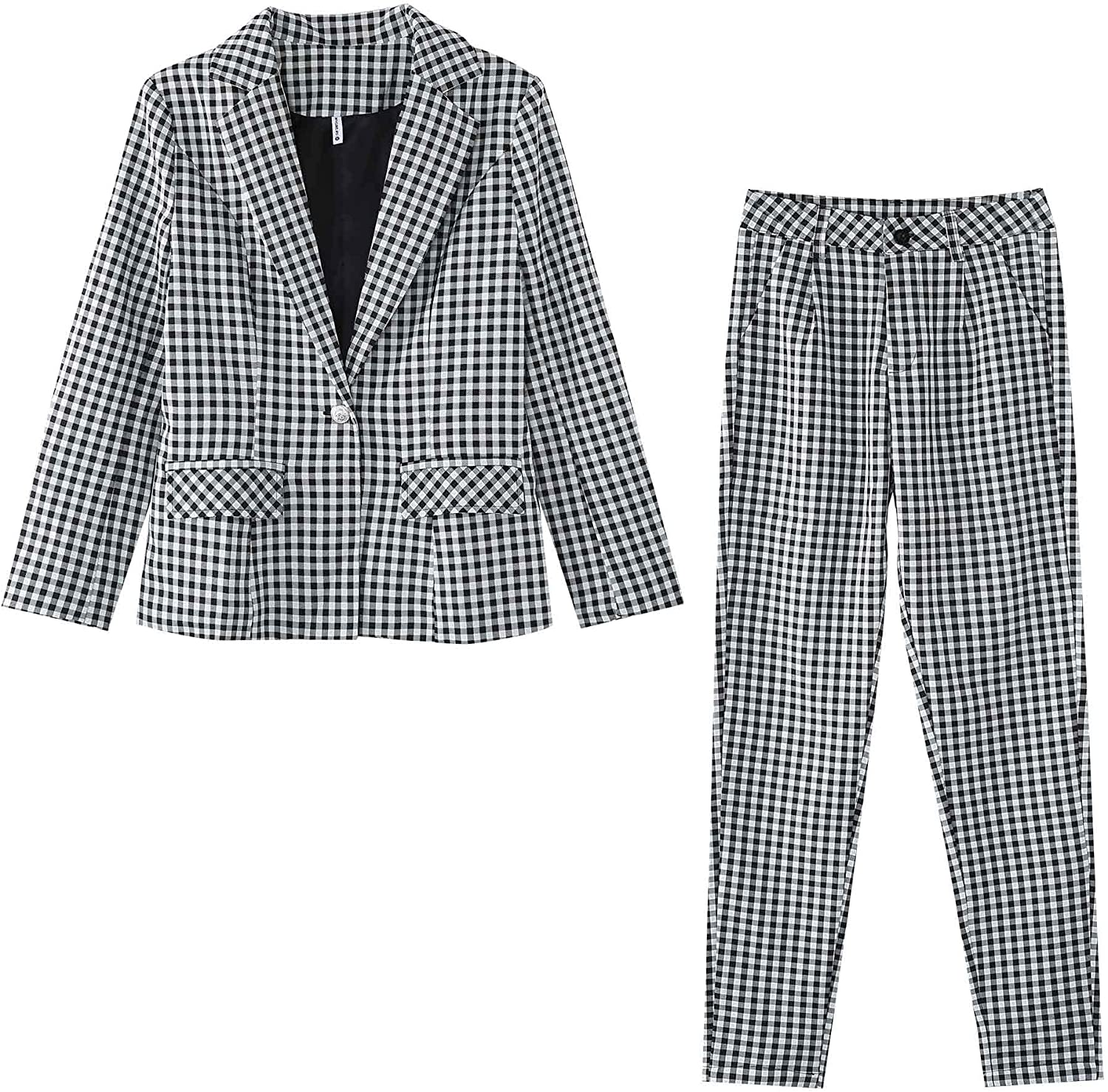 TAOVK Women's Two Piece Open Front Long Sleeve Blazer and Pencil Pant Set Suit