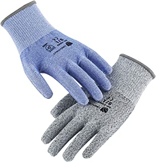 ORIENTOOLS 2 Pack of Cut Resistant Gloves with Level 5 Protection, Safety Work Gloves with Durable Nylon & Fiberglass, Suitable for Cutting, Woodworking, Gardening(Blue&Grey, Size 9, Large)