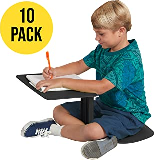 ECR4Kids The Surf - Portable Lap Desk/Laptop Stand/Writing Table, Black (10-Pack)