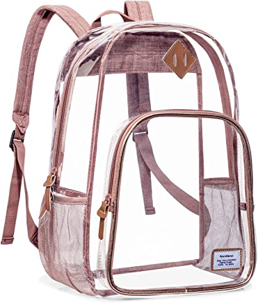 NiceEbag Clear School Backpack Heavy Duty Clear Bookbag Large See Through Backpack for Teen Girls Boys Kids Student Women and Men Stadium Approved Transparent Bag for College Work Travel,Rose Gold