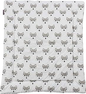 Puckdaddy Aankleedkussen Foxi - 65x75 cm, 100% katoenen aankleedkussen met vossenmotief in wit, zacht aankleedkussen voor ...