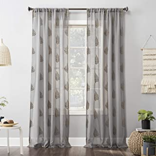 No. 918 Embroidered Fern Sheer Rod Pocket Curtain Panel, 50