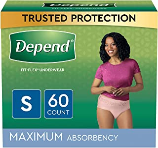 Depend FIT-FLEX Incontinence Underwear for Women, Disposable, Maximum Absorbency, Blush, Small (60 Count)
