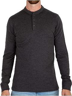 MERIWOOL Mens Base Layer Merino Wool Heavyweight Henley Sweater Thermal Shirt