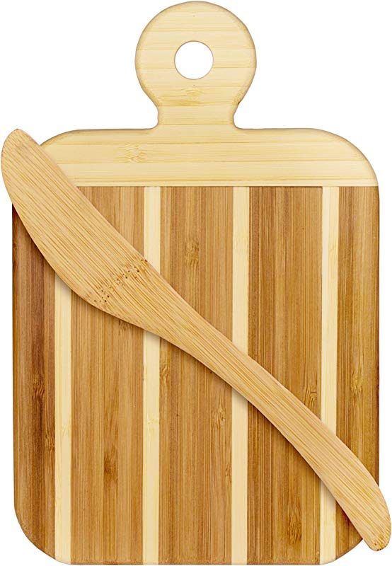 Totally Bamboo Striped Paddle Serving And Cutting Board And Spreader Knife Gift Set