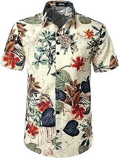 Men's Flower Casual Button Down Short Sleeve Hawaiian Shirt