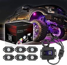 Niwaker RGB LED Rock Lights with 8 pods Lights Neon Trail Rig Lights Underglow Lights for Truck ATV UTV SUV Boat Off Road RGB Rock Light Kits
