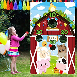 Farm Animals Toss Game with 3 Nylon Bean Bags, Indoor and Outdoor Farm Animals Party Game for Kids and Adults, Farm Theme ...