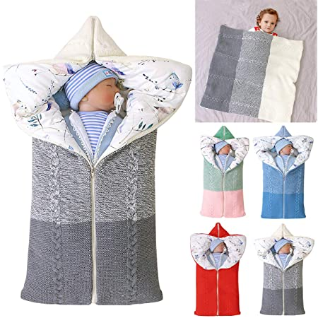 Knit Soft Warm Fleece Sleeping Bag Sack Stroller Wrap for Fall and Winter Plus Velvet Thickening Newborn Baby Wrap Swaddle Blanket Blue for 0-12 Months Boys and Girls