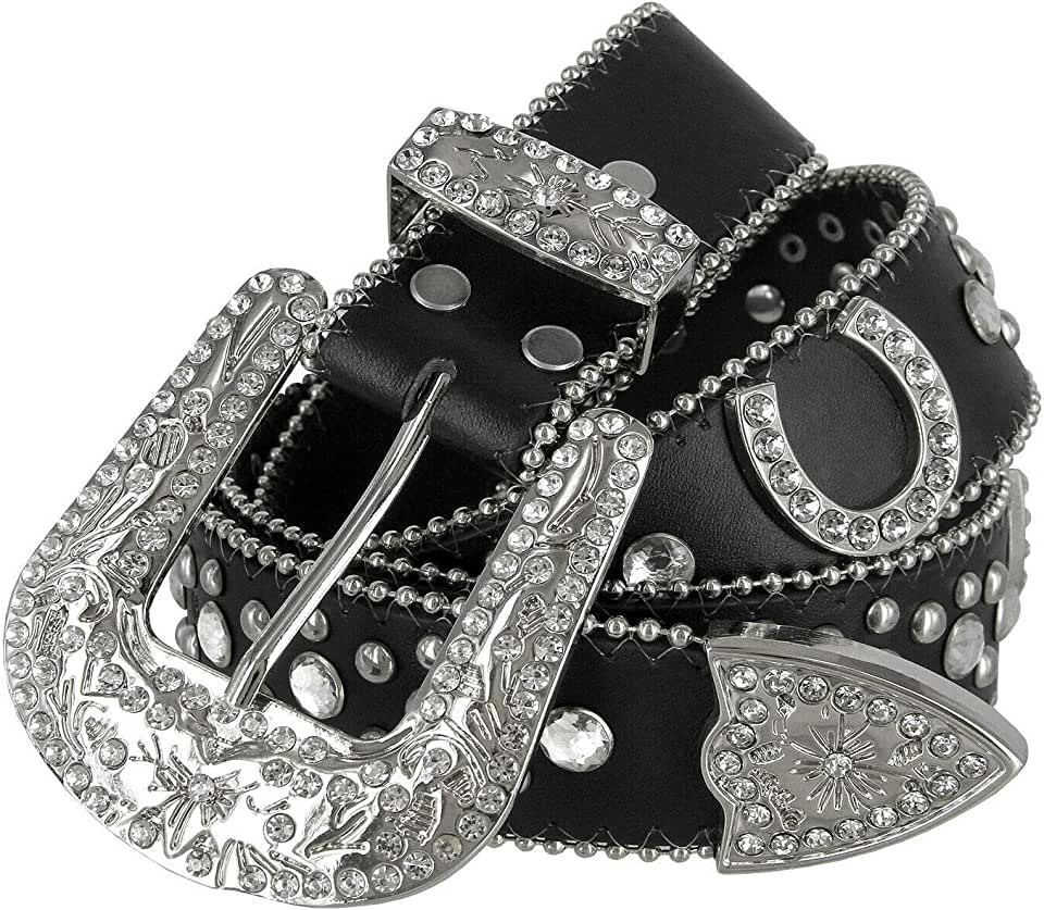 "Women Rhinestone Belt Fashion Western Cowgirl Bling Studded Design Horseshoe Concho Leather Belt 1-1/2""(38mm) wide"