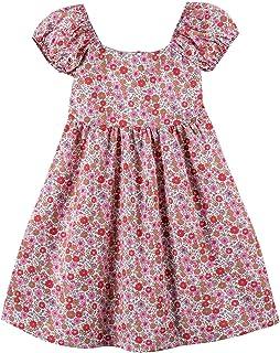 Noomelfish Girls Flower Floral Printed Dress Short Sleeve Summer Casual Swing Dresses (2-12 Years)