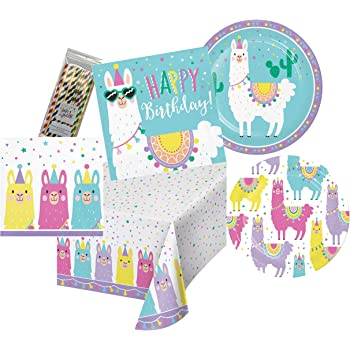 DreamJ Llama Party Supplies with Llama Plates Cups Napkins Forks Happy Birthday Banner for Boys,Girls,Baby Showers Birthday Party Favors Decor 69PCS Llama Disposable Tableware Set