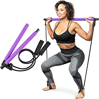 Serenily Pilates Bar Yoga Stick - Pilates bar kit for Home Gym with Pilates Resistance Bands - At Home Workout Equipment f...