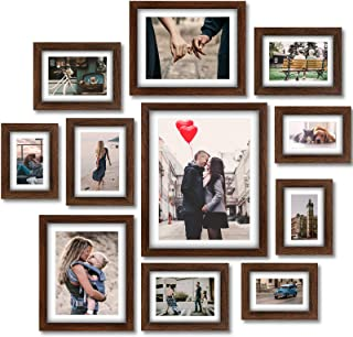 Homemaxs Picture Frames Collage Set - 11 Pack Rustic Wooden Photo Frame Wall Gallery Kit for Tabletop or Home Decor With M...