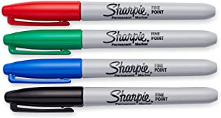 Sharpie Permanent Markers, Fine Point, Assorted Colors, 4-Pack (30074)