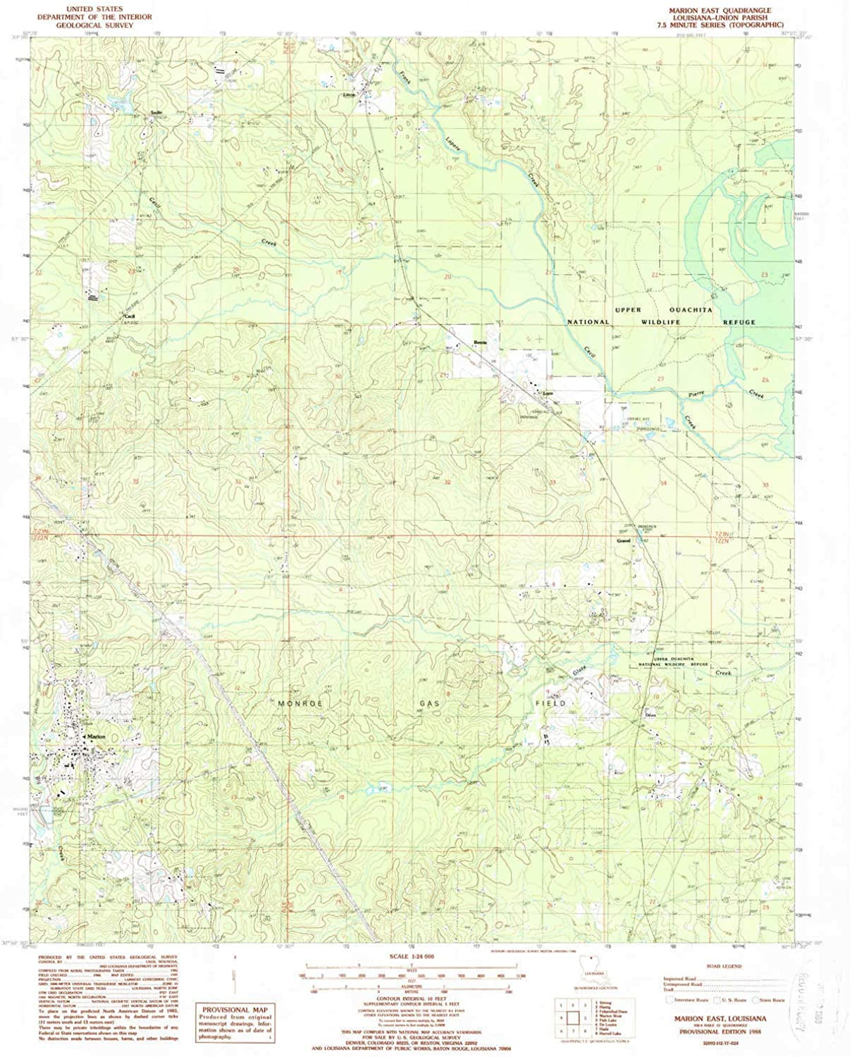 Marion East LA topo map, 1 24000 Scale, 7.5 X 7.5 Minute, Historical, 1988, Updated 1988, 26.8 x 22 in