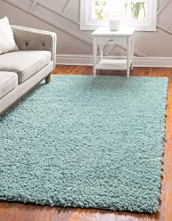 Unique Loom Davos Shag Collection Contemporary Soft Cozy Solid Shag Aqua Area Rug (5' 0 x 8' 0)