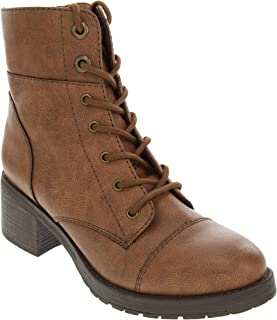 Women's Klondike Lace Up Combat Boot Low Shaft with Block Heel