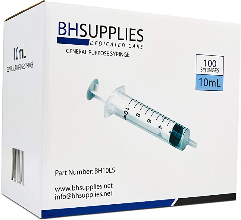 10ml Syringe Sterile With Luer Slip Tip BH SUPPLIES No Needle Individually Sealed 100 Syringes